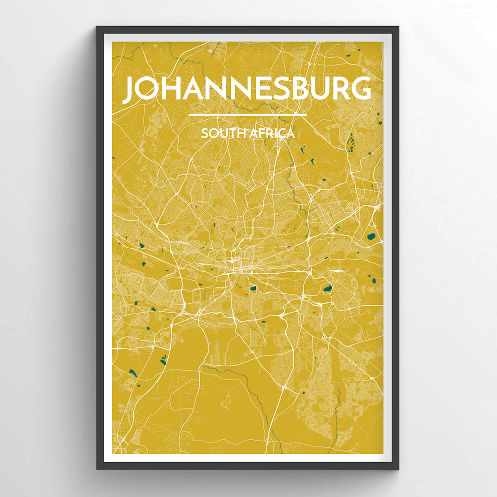 Johannesburg, South Africa - Map Art - Point Two Design