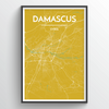 Damascus City Map Print street wall art