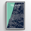 Tel Aviv City Map Print street wall art