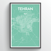 Tehran City Map Print street wall art