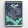 Manaus City Map Print street wall art