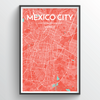 Mexico City Map Print street wall art