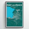 Port Au Prince City Map Print street wall art