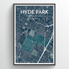 Hyde Park Neighbourhood of Austin Map Art