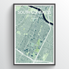 South Congress Neighbourhood of Austin Map Art