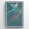 Zilker Neighbourhood of Austin Map Art