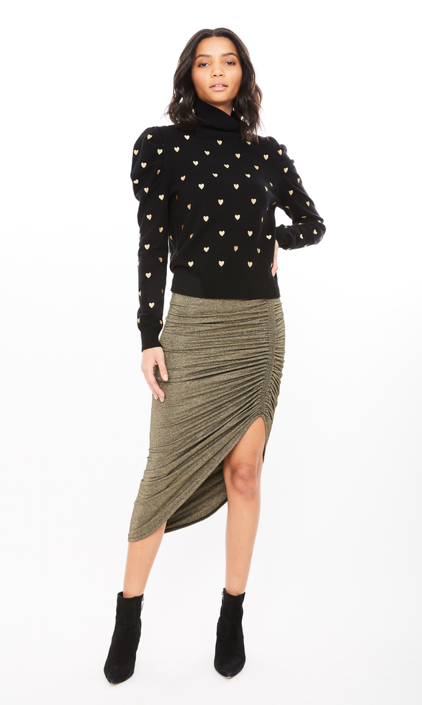 Generation Love Joy Lurex Midi Skirt in Black/Gold