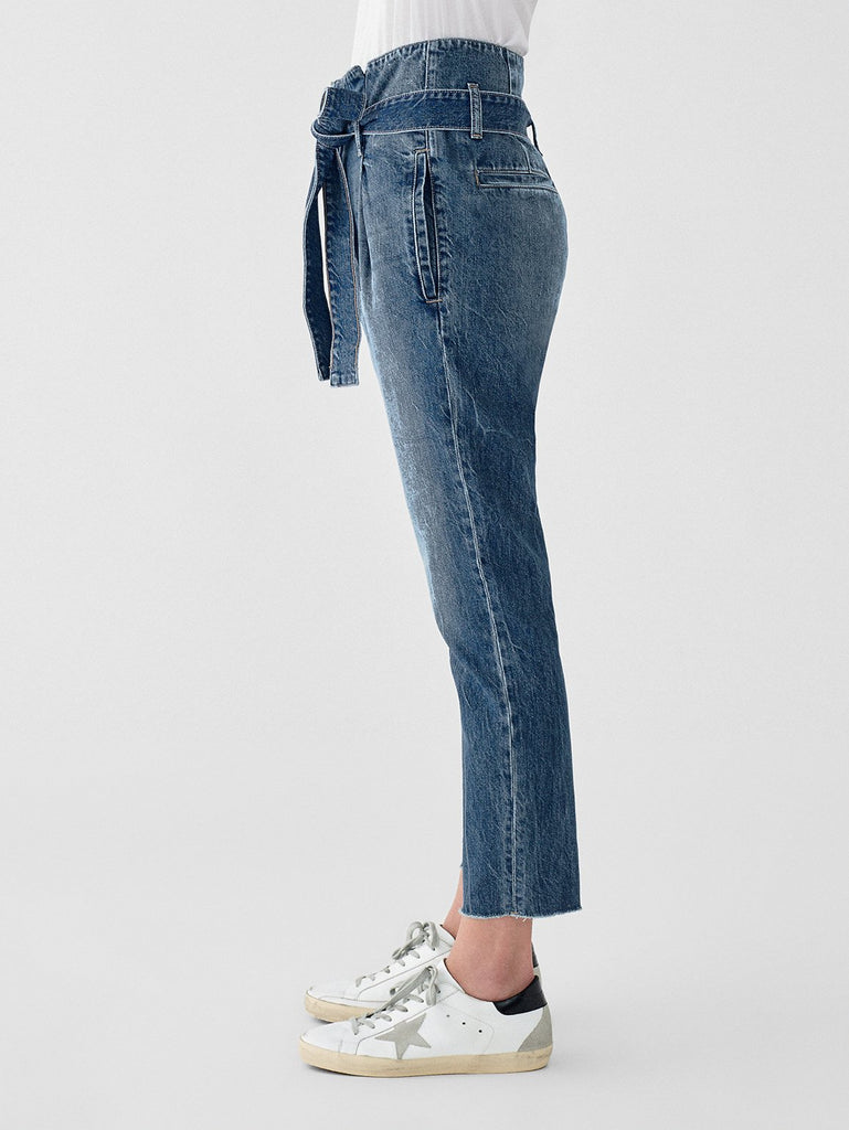 DL1961 Denim Susie Paper Bag High Rise Tapered Straight in Aberdeen