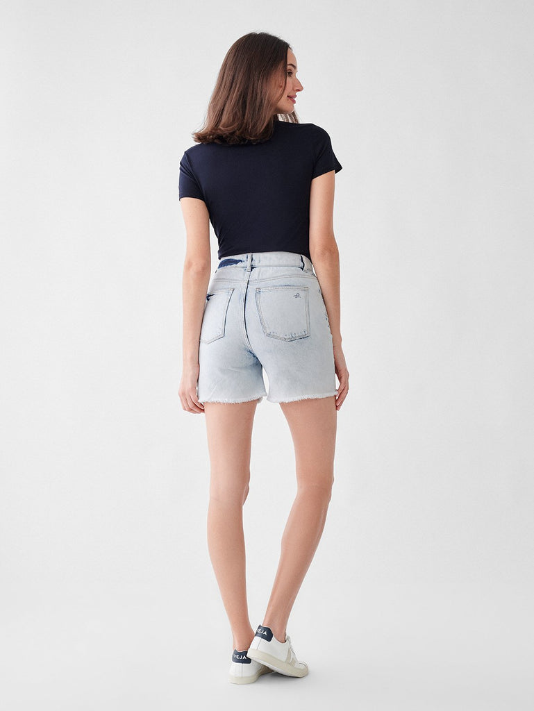 DL1961 Denim Hepburn High Rise Wide Leg Short in Mystic