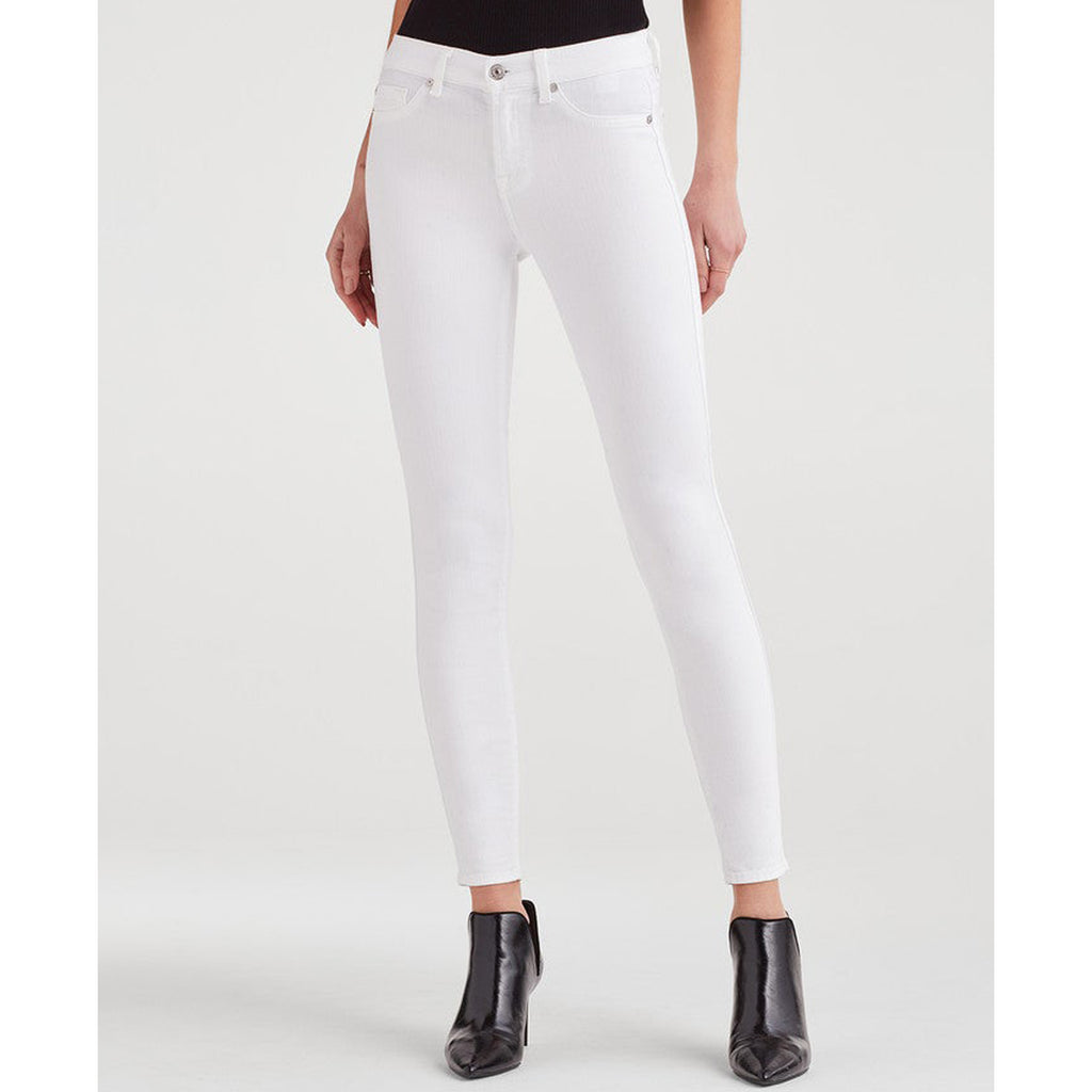 7 For All Mankind Mid Rise Ankle Skinny in Clean White