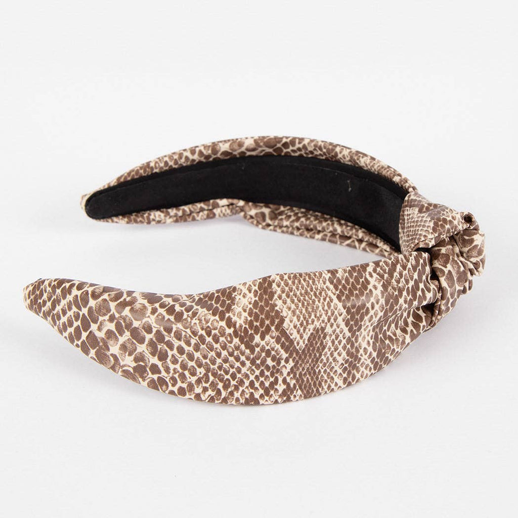 Faux Leather Headband in Snake