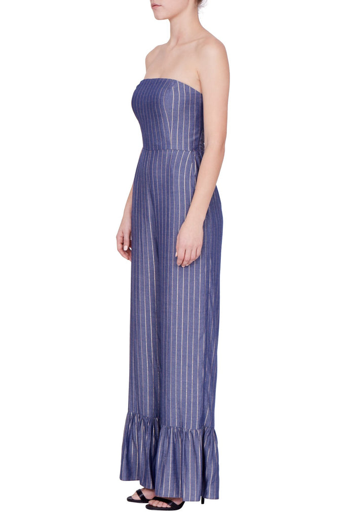 Amanda Uprichard Ebony Metallic Stripe Jumpsuit