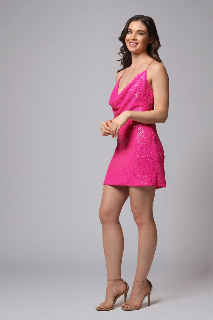 Jay Godfrey Baldwin Sequin Mini Dress in Neon Fuchsia
