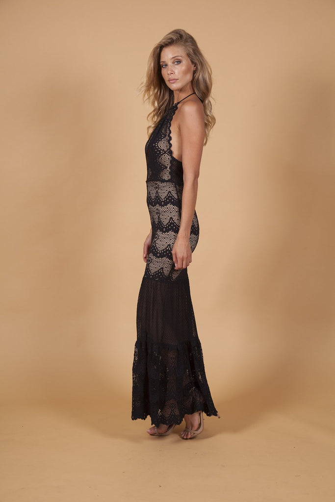 Nightcap Clothing Belle Nuit Halter Gown in Black