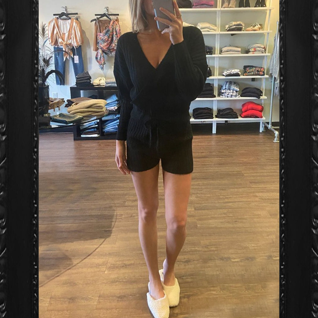 Central Park West Acacia Knit Romper in Black