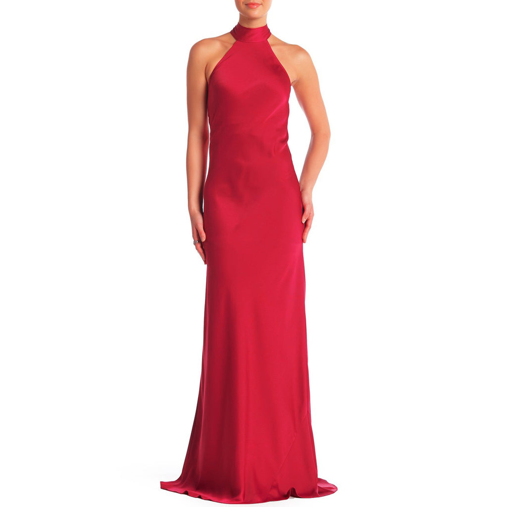 Jay Godfrey Brisco Halter Gown in Cherry