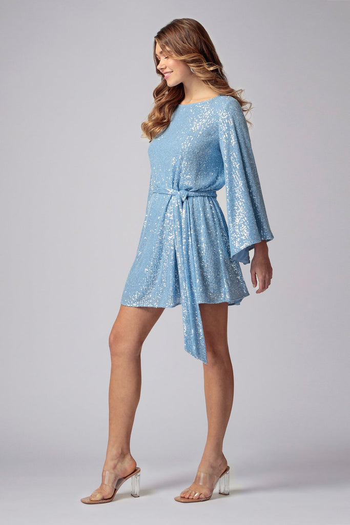 Jay Godfrey Maggie Sequin Dress in Ice Blue
