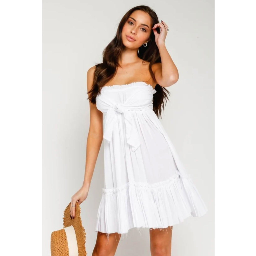 Olivaceous Strapless Tiered Dress in White
