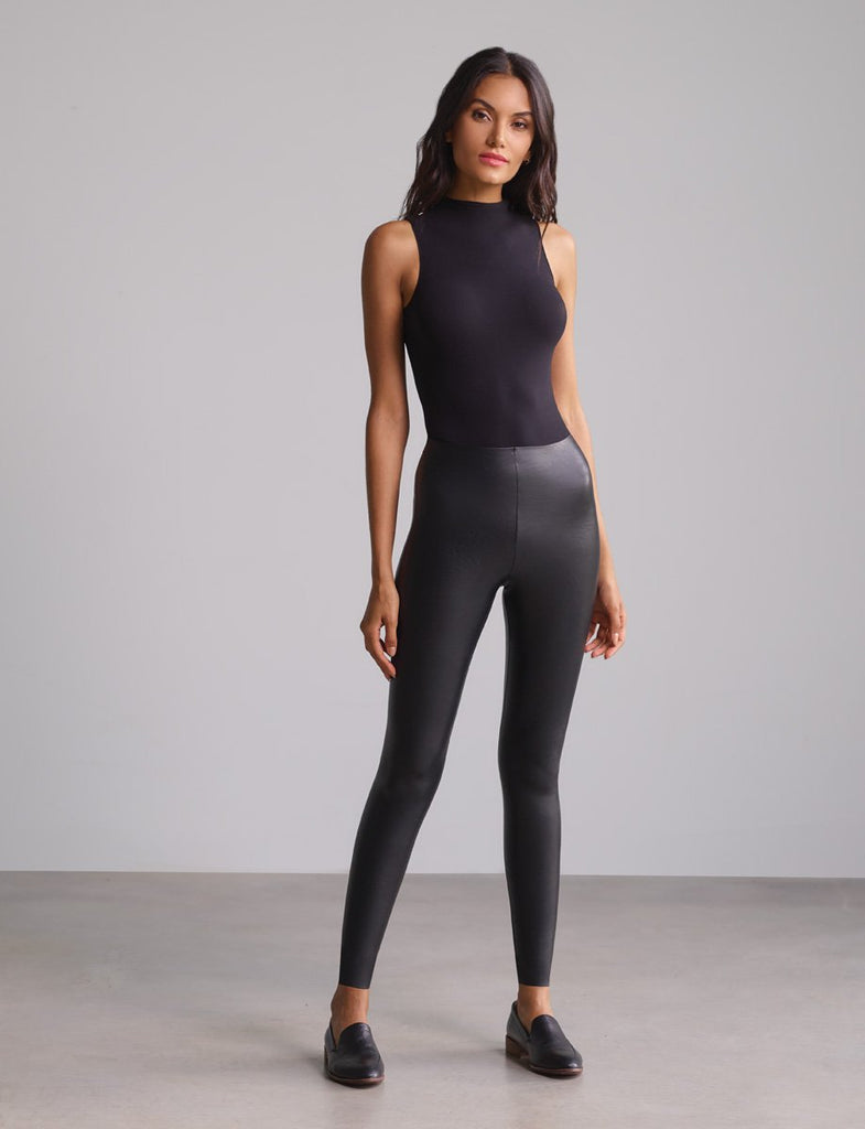 Commando Faux Leather Legging with Perfect Control in Black