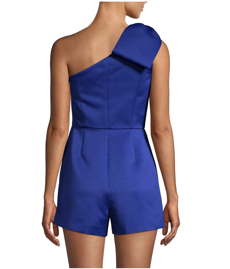 Jay Godfrey Tany One-Shoulder Romper & Removable Skirt in Royal