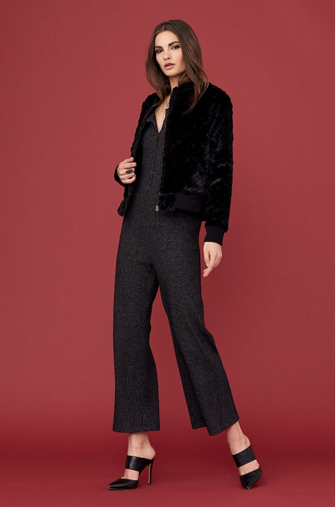 David Lerner Lurex Sparkle Button Jumpsuit