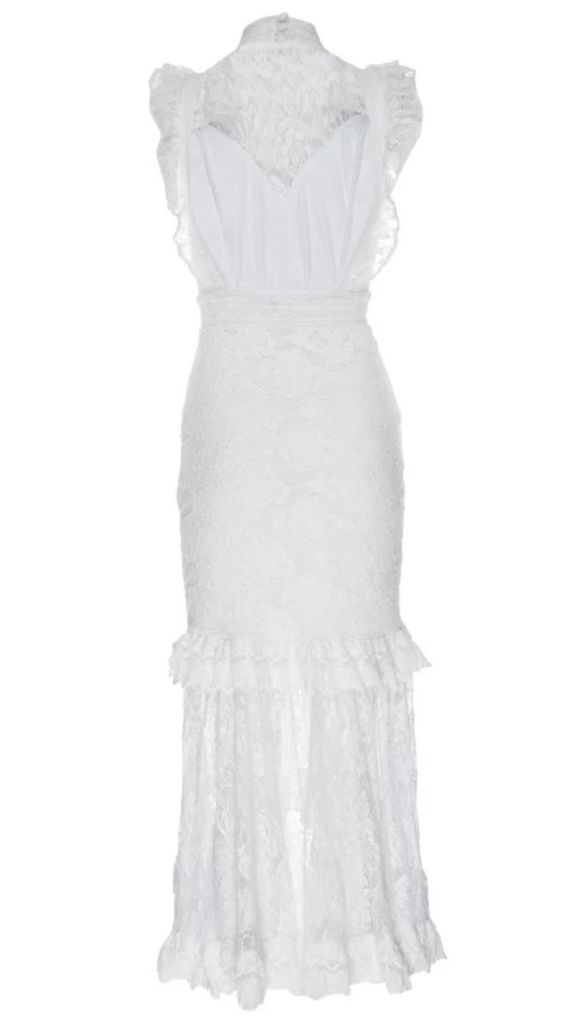 Nightcap Clothing Victorian Apron Gown in White