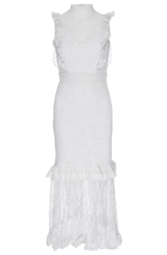 Nightcap Clothing Victorian Apron Dress in White