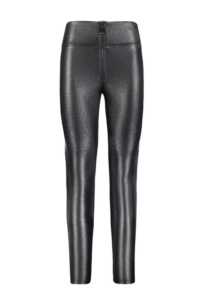 David Lerner Layla High Waisted Faux Leather Legging in Black Leopard