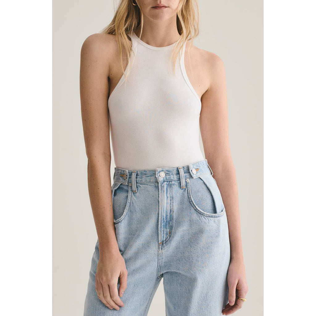 AGOLDE Denim Rianne High Neck Racerback Bodysuit in White