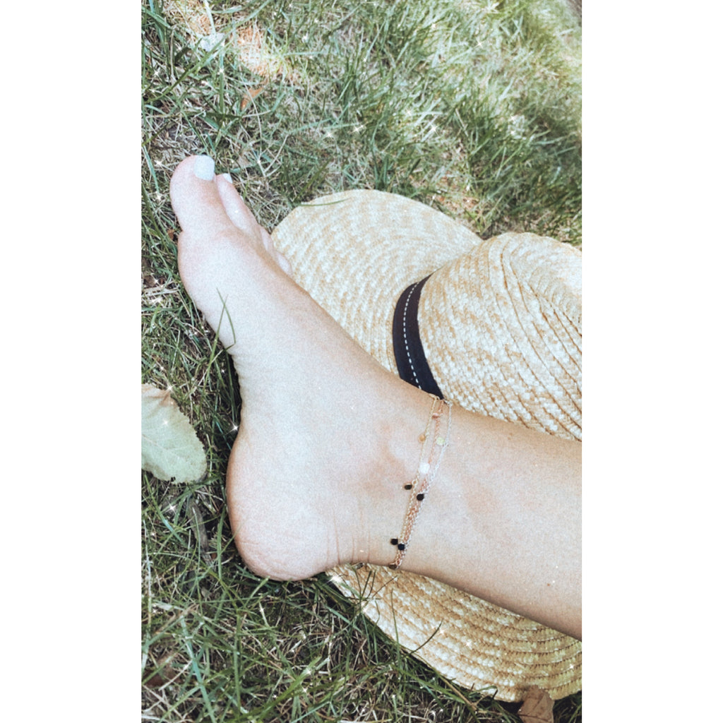 Samfa Style Dainty Dangling Charm Anklet
