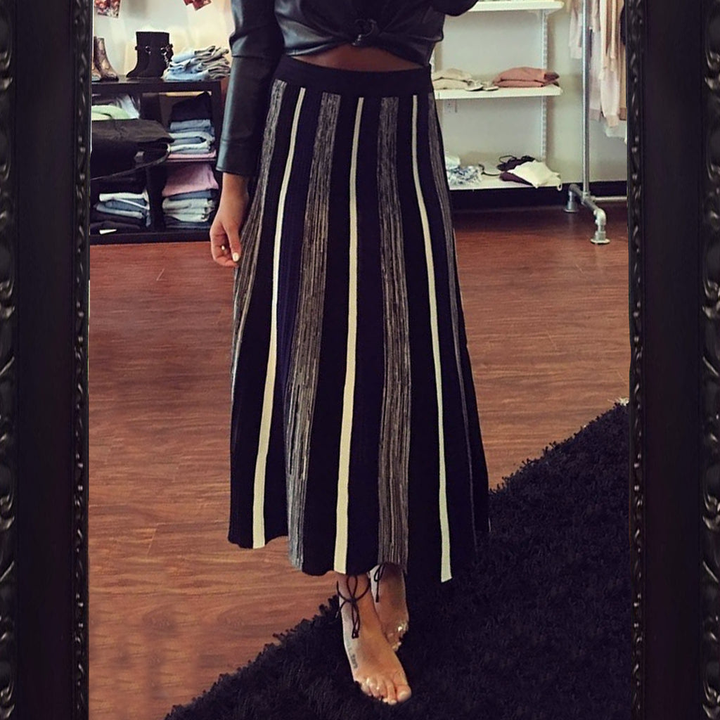 BB Dakota Knit Striped Maxi Skirt