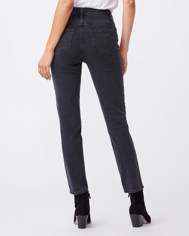 Paige Denim Sarah Slim High Rise in Black Ace Destructed