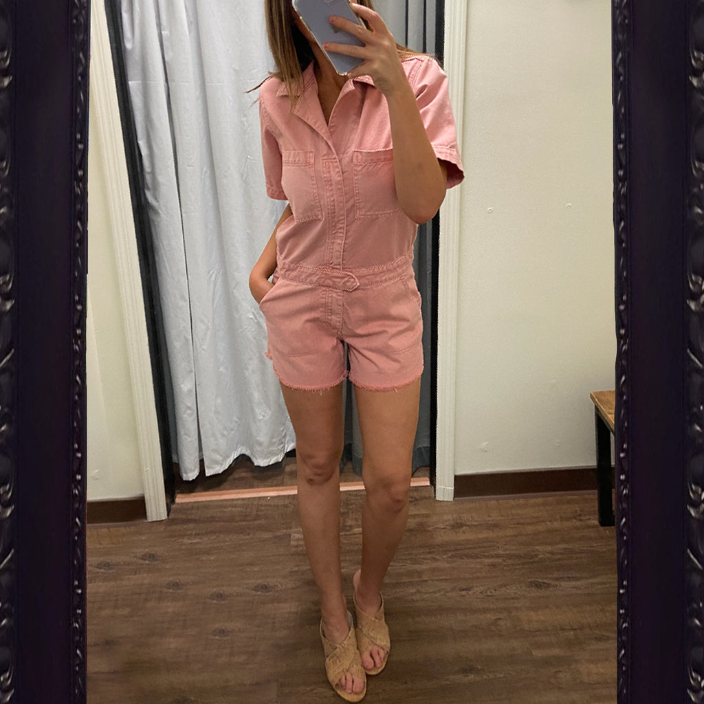 DL1961 Denim Hannah Romper in Burnt Coral