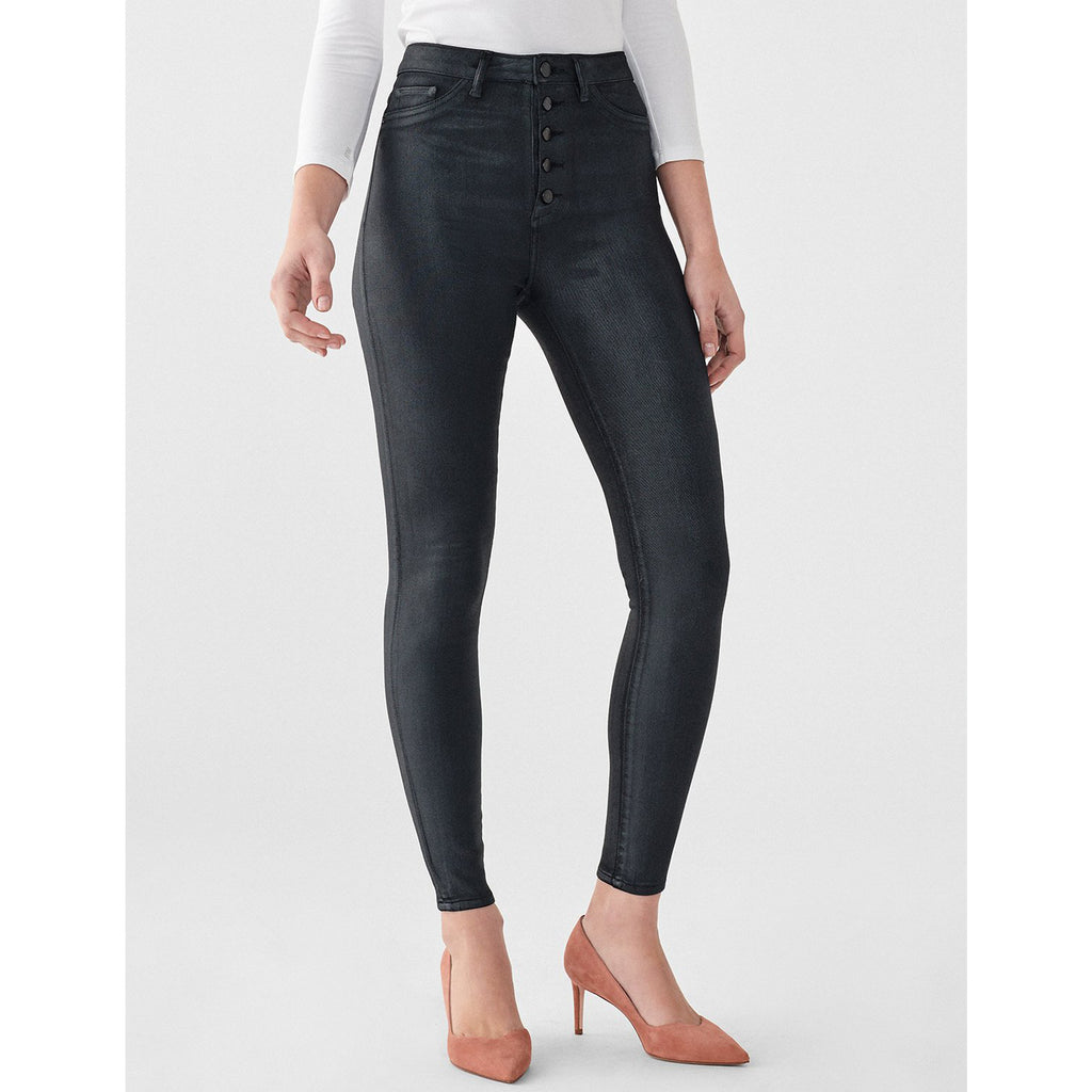 DL1961 Denim Chrissy Ankle Ultra High Rise Instasculpt Skinny in Coated Graphite