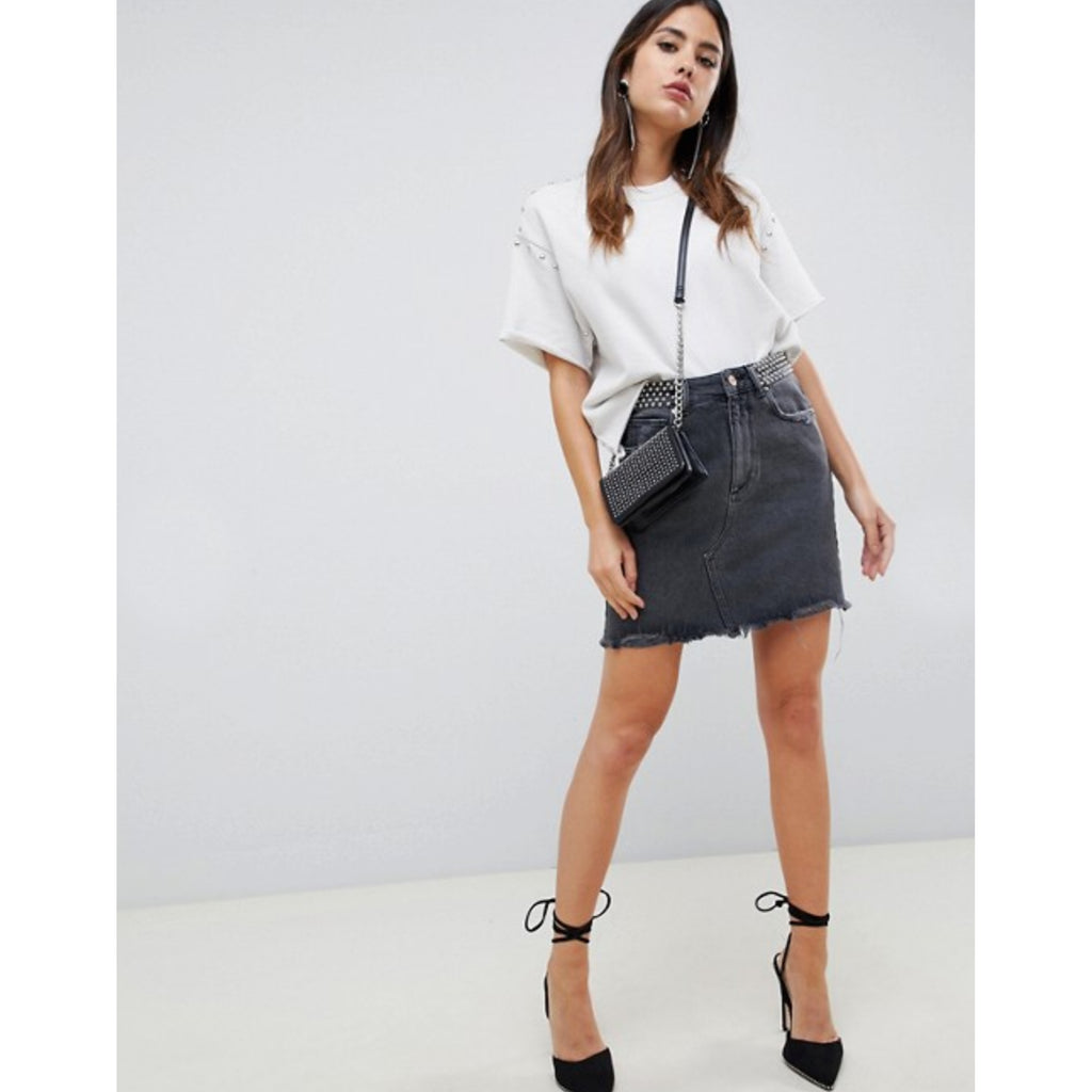 DL1961 Denim Georgia High Rise Skirt in Wilder