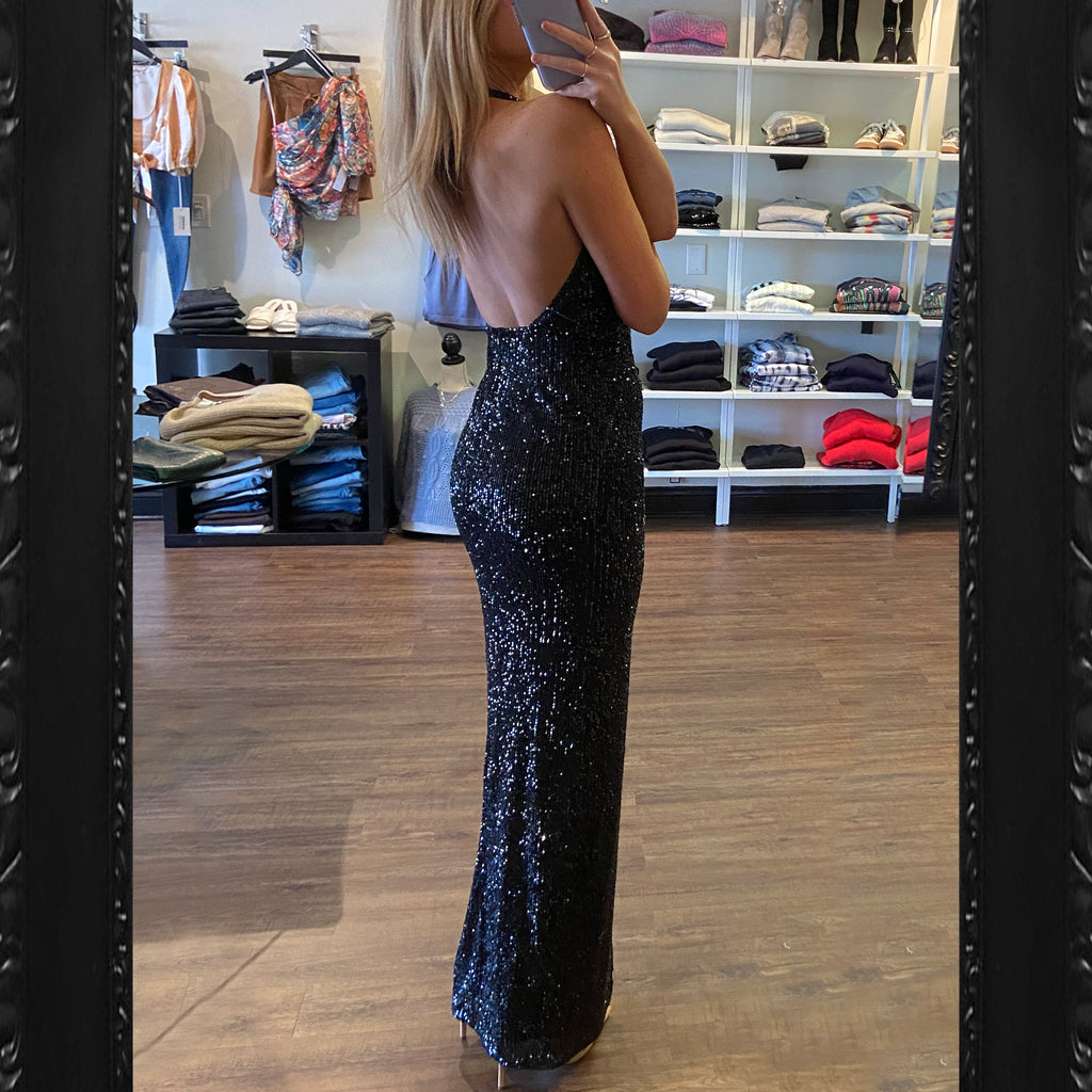 Jay Godfrey Valentina Sequin Gown in Black
