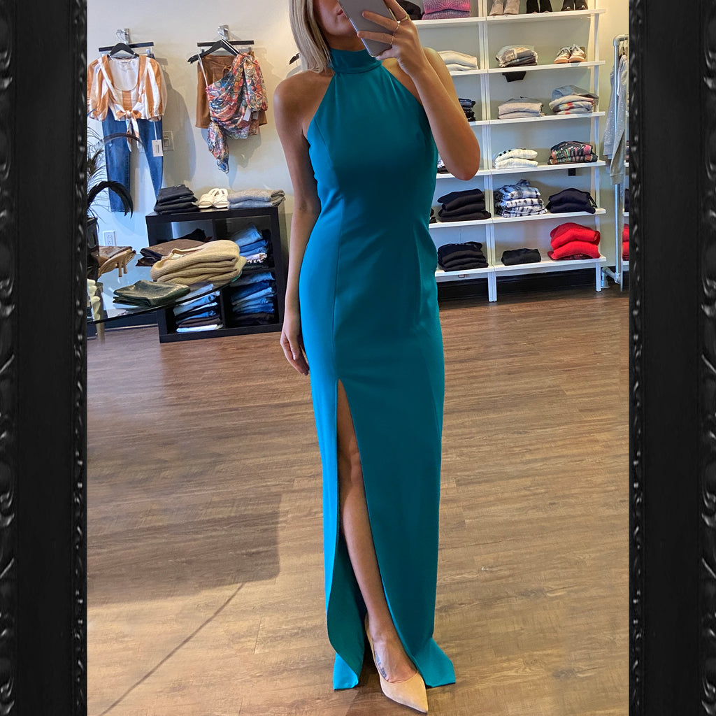 Jay Godfrey Carlah High Neck Gown in Teal