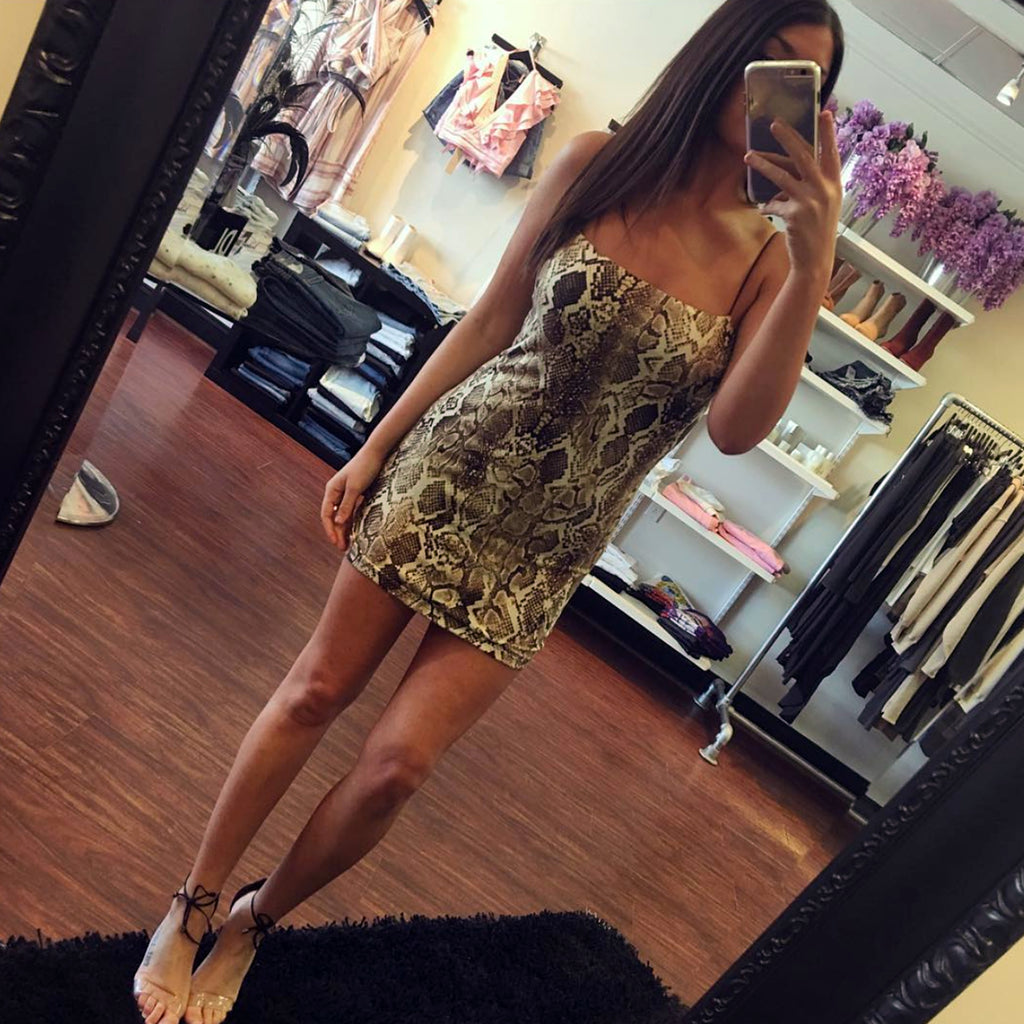 Wild Honey Snake Mini Dress