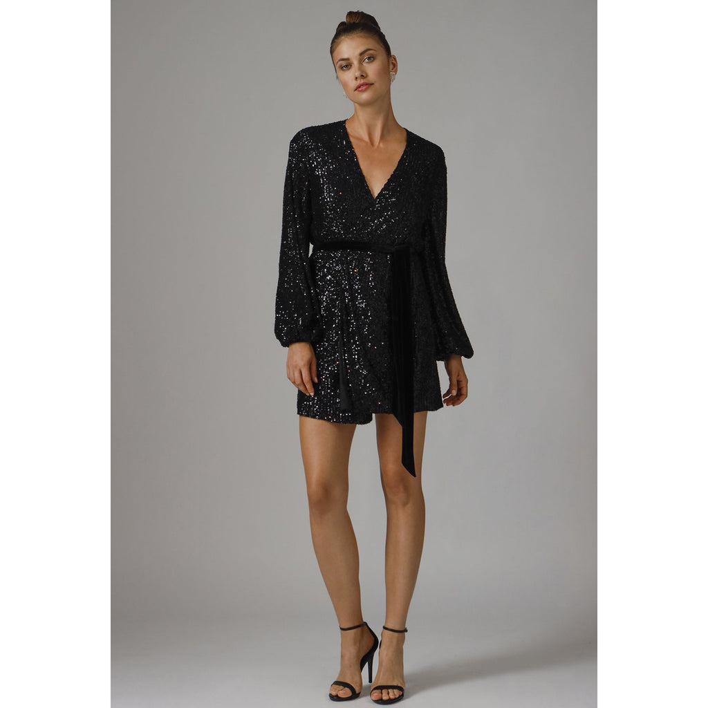 Jay Godfrey Polly Sequin Mini Dress in Black