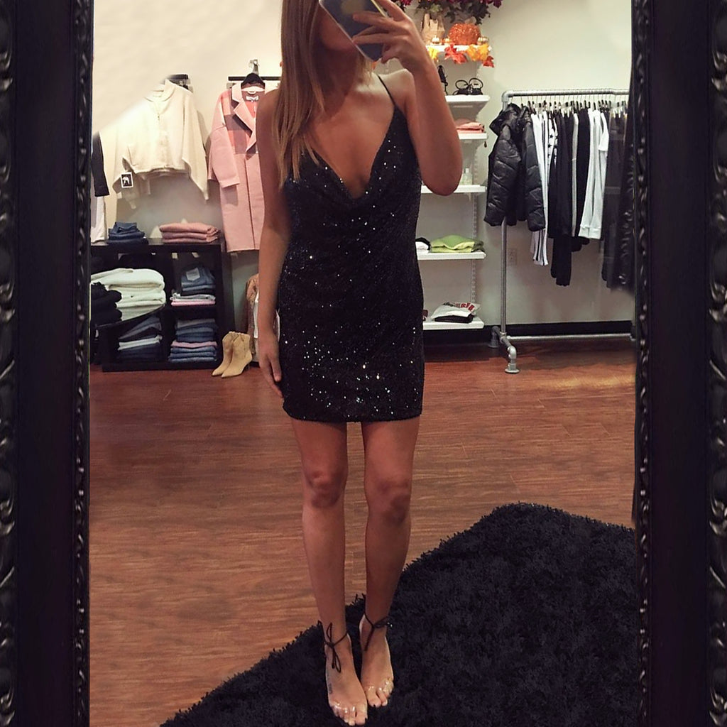 Jay Godfrey Baldwin Sequin Mini Dress in Black
