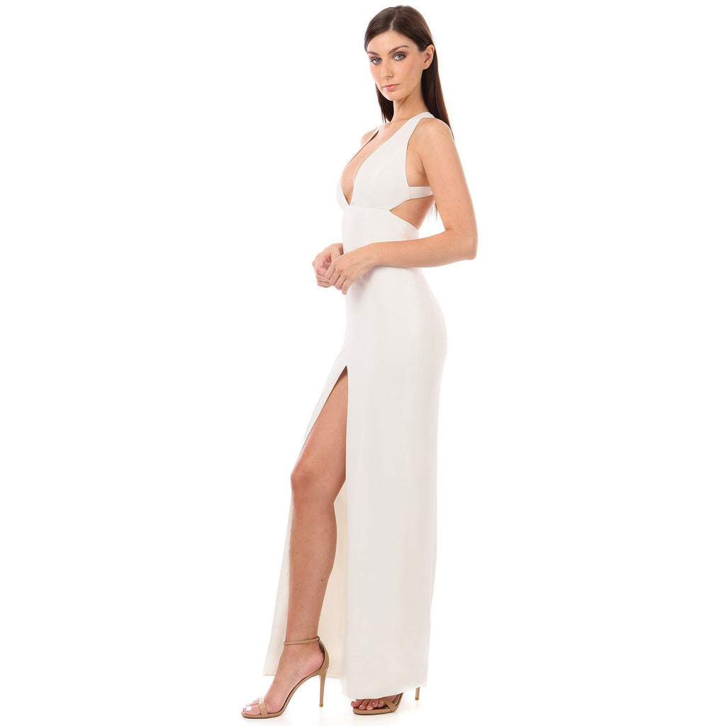 Jay Godfrey Fraser Plunge Criss Cross Gown in White