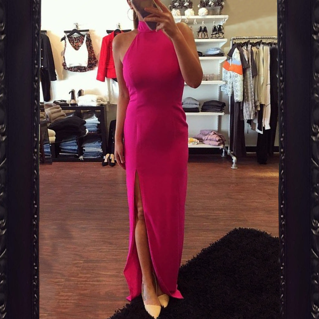 Jay Godfrey Carlah High Neck Gown in Fuchsia