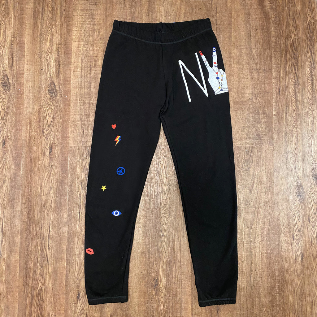 Lauren Moshi Brynn NY Hand Elements Sweatpants in Black