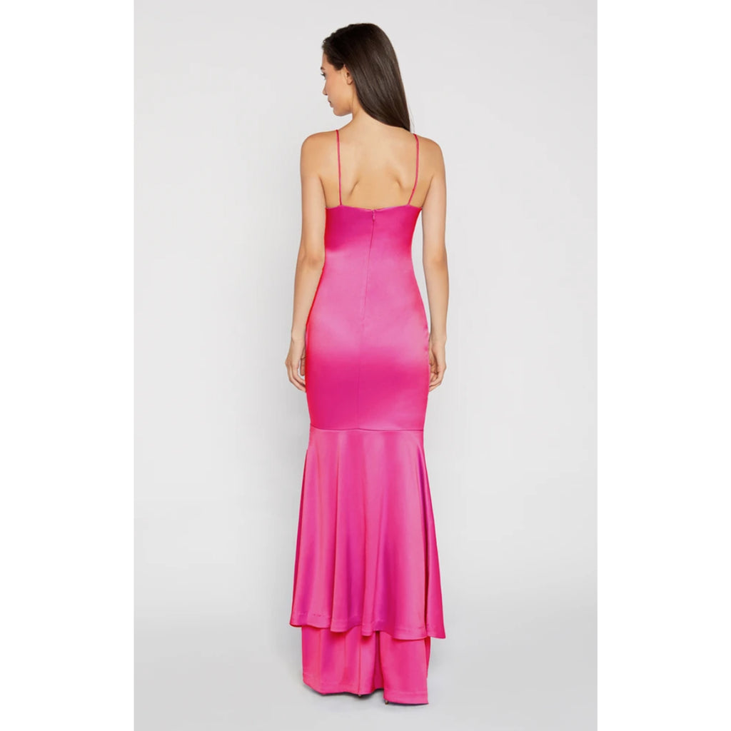 Likely Aurora Satin Gown in Fuchsia