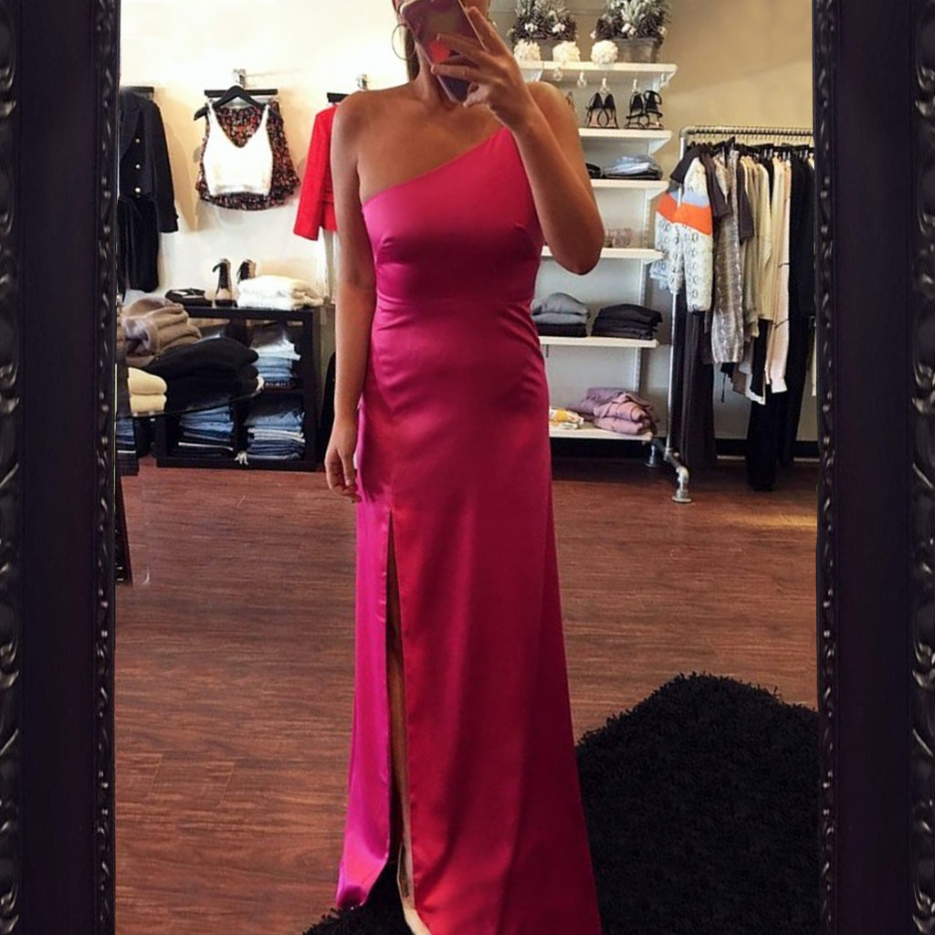 Likely Cardallino One Shoulder Gown in Fuchsia
