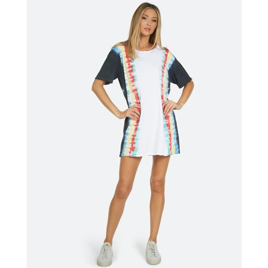 Michael Lauren Burman T-Shirt Dress in Navy and Red Tie Dye