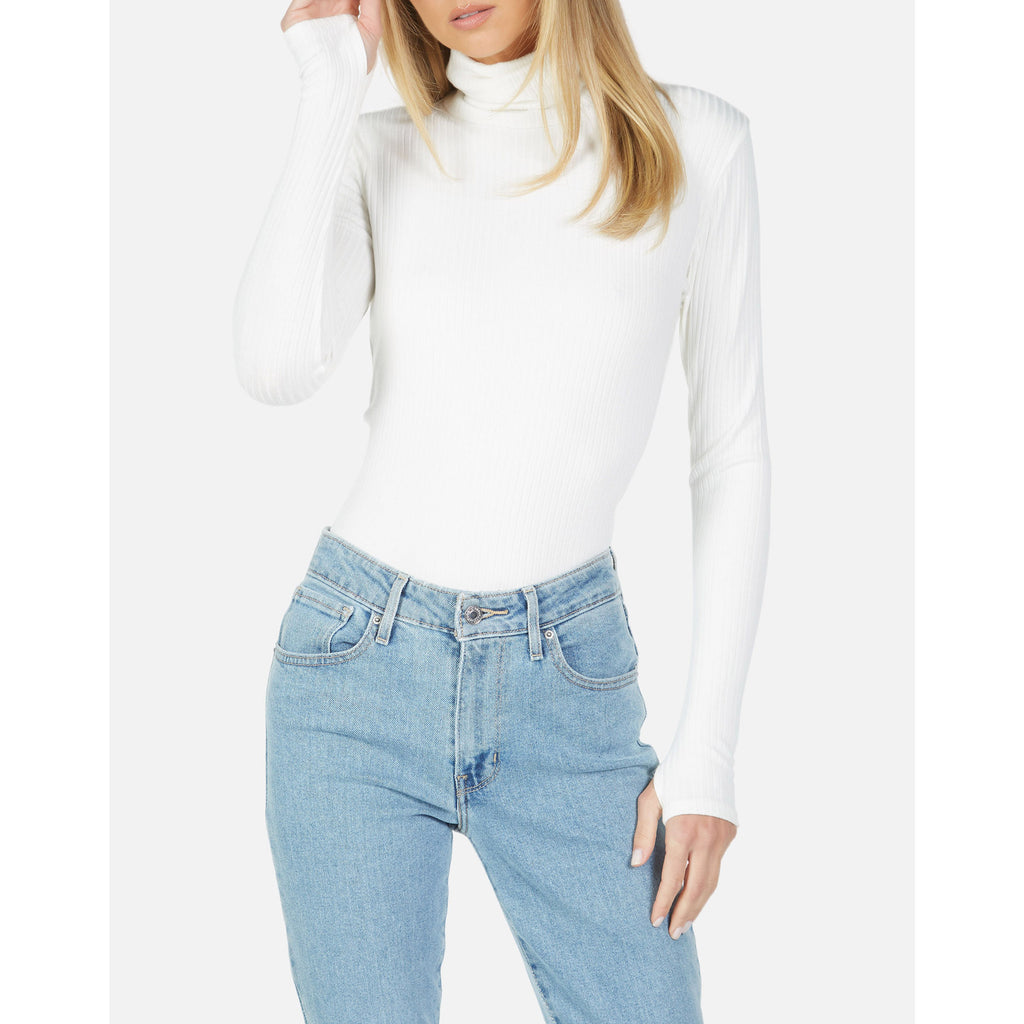 Michael Lauren Alamo Long Sleeve Rib Turtleneck in Ivory