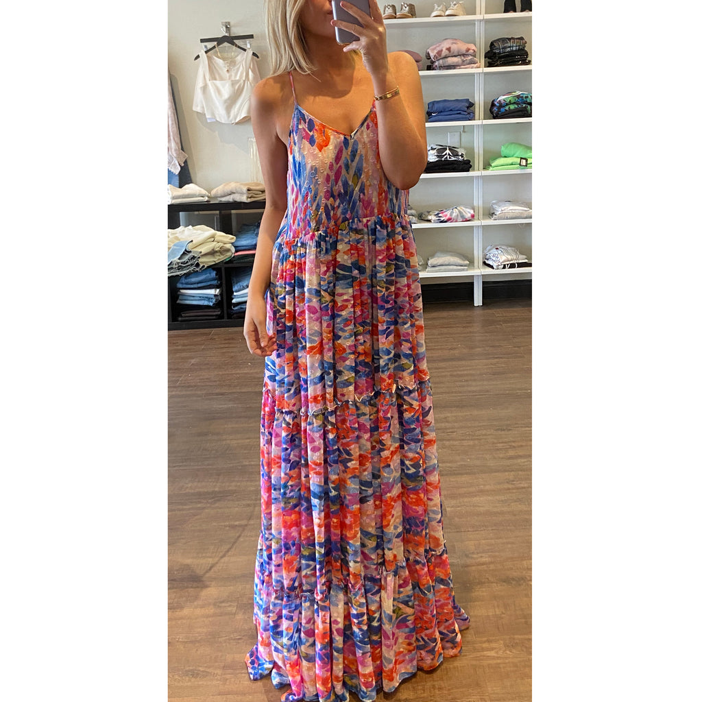 Misa Kalita Maxi Dress in Feathers Print