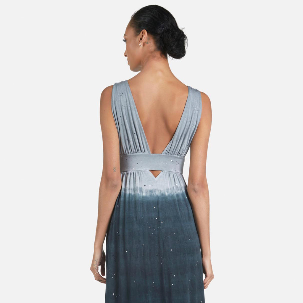 Michael Lauren Cesar Goddess Maxi Dress in Smoke Splatter