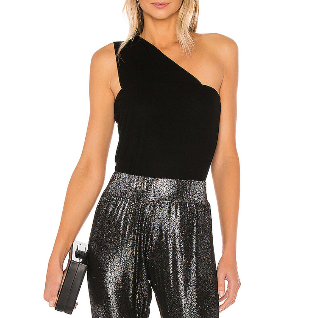 Michael Lauren Atwood One Shoulder Tank in Black